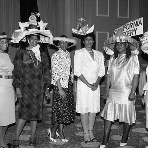 Six women wearing homemade hats, Los Angeles, 1986