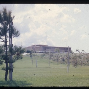 Campus buildings from across Aldrich Park, ca. 1966