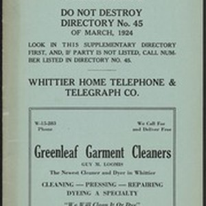 Whittier Home Telephone Directory Supplement, No. 45