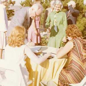 Guests mingle at Pepperdine reception for President Ford, 1975