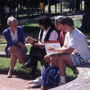 Lorraine Reed, English professor with students.