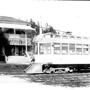 P&SR Car no 51 in front of the Electric Hotel in Forestville, ...
