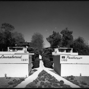 Exterior view of the Laurelwood Apartments, Studio City, 1948