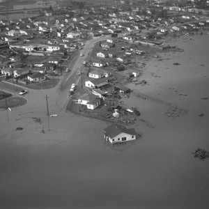 Aerial view of Carson flood area, Avalon Boulevard and 190th Street