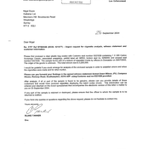 [Letter from Blake Tanner to Nigel Espin regarding the urgent request for ...