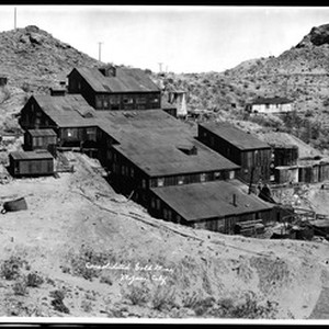 Exterior view of the Consolidated Gold Mine in Mojave, ca.1900