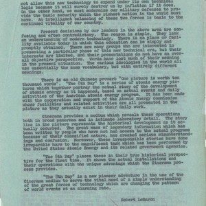 Memo from Robert LeBaron, June 24, 1957