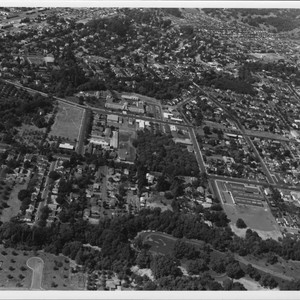 Aerial view of eastern Santa Rosa, California with Memorial Hospital in center, ...