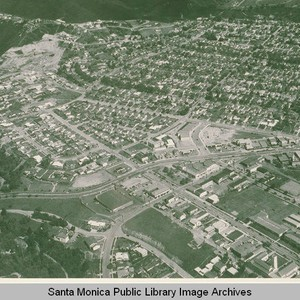 Aerial view of downtown Pacific Palisades, Calif
