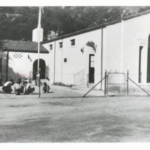 Children playing outside the schoolhouse, Topanga, California