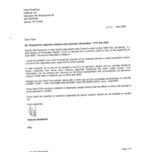 [Letter from Victoria Sandford to Peter Redshaw regarding request for cigarette analysis ...
