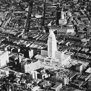 Aerial view of Los Angeles civic center