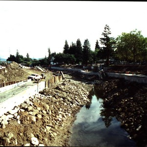 Looking east along Santa Rosa Creek bed from the Olive Street-Railroad Avenue ...