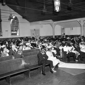 Wedding guests in a church, Los Angeles, 1962