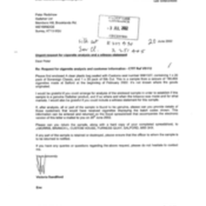 [Letter from Victoria Sanford to Peter Redshaw regarding Request for cigarette annalysis ...