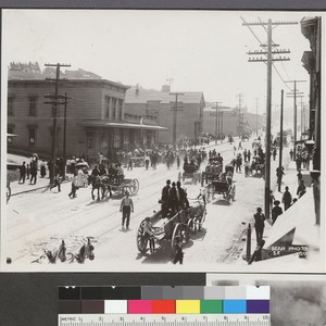 [Street scene during reconstruction.]