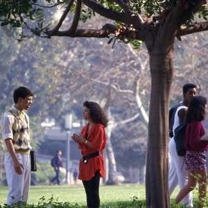 Groups of students around campus