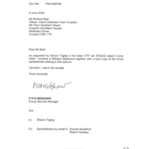 [Email from PRG Redshaw to Richard Best regarding a request by Sharon ...