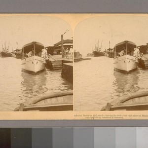 Admiral Dewey on his Launch--leaving the dock--last visit ashore at Manila, May ...