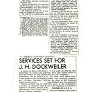 Newspaper clippings about John Henry Dockweiler and his funeral service, December 22, ...