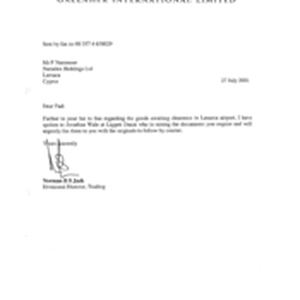 [Letter from Norman BS Jack to Mr F Nammour regarding goods awaiting ...