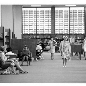 Patrons using the Main Reading Room of the library, Santa Rosa