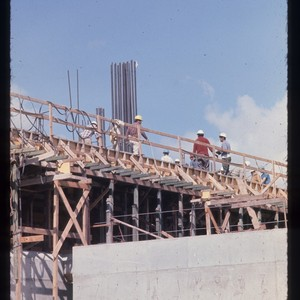 Construction of building on campus, ca. 1968