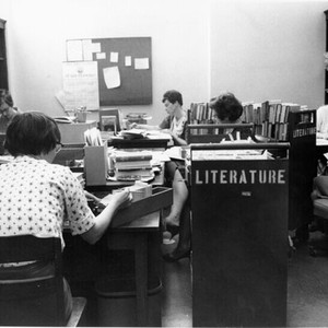 [Staff working in the Literature Department at the Main Library]