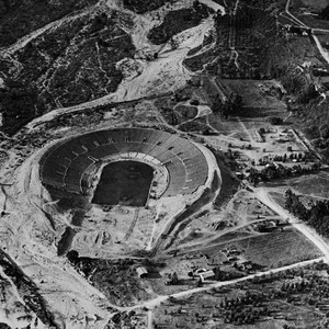 Aerial view, Rose Bowl under construction
