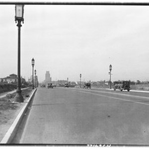 View down Wilshire Boulevard looking west from Harcourt Street, 1931