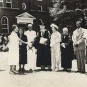 Lee de Forest in honorary degree hood with Marie de Forest, Talladega ...
