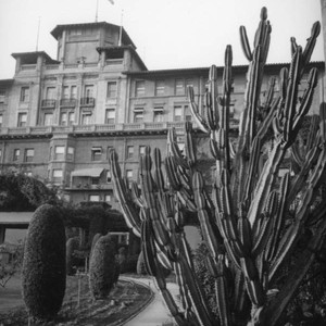 Huntington Hotel main building with cactus