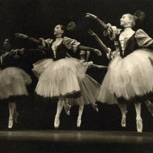 Female dancers mid-jump in Christensen's Beauty and the Shepherd