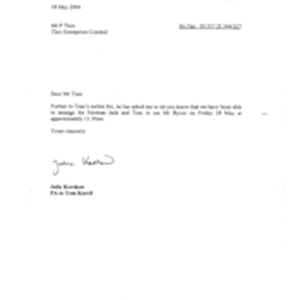 [Letter from Julia Kershaw to P Tlais regarding meting of Norman Jack ...