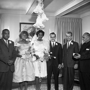 Wedding party and a minister, Los Angeles, 1962