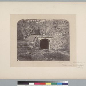"""First tunnel, Ferrocarril [railroad] de Valparaiso a Santiago, Chile.""[photographic print]"