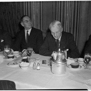 Newspapermen during the Newspaper Day event in the Biltmore Hotel ballroom, Los ...