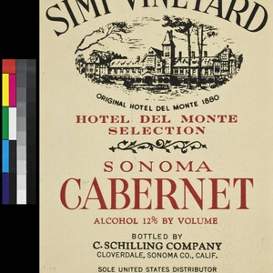 Simi Vineyard Hotel Del Monte Selection Sonoma cabernet : alcohol 12% by ...