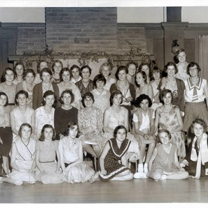Group portrait of teenage girls in Schofield Hall