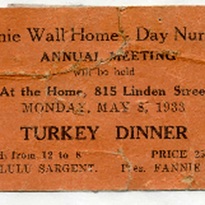 Ticket to Fannie Wall Children's Home and Day Nursery, Inc. annual meeting ...