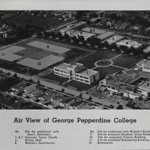 Aerial view of George Pepperdine College, 1940