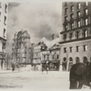 [Burning of Winchester House at Third and Stevenson, south of Market St. ...