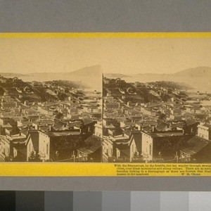 San Francisco, California. North Beach, Bay, and Golden Gate. About 1867. From ...