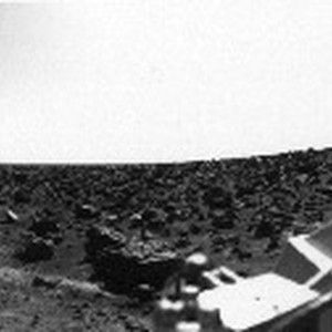 Rocky panoramic scene of the Martian landscape