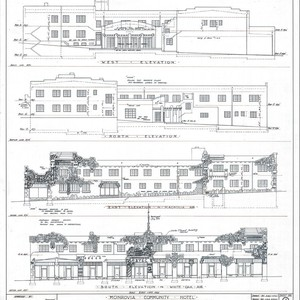 Aztec Hotel: Exterior elevation drawings
