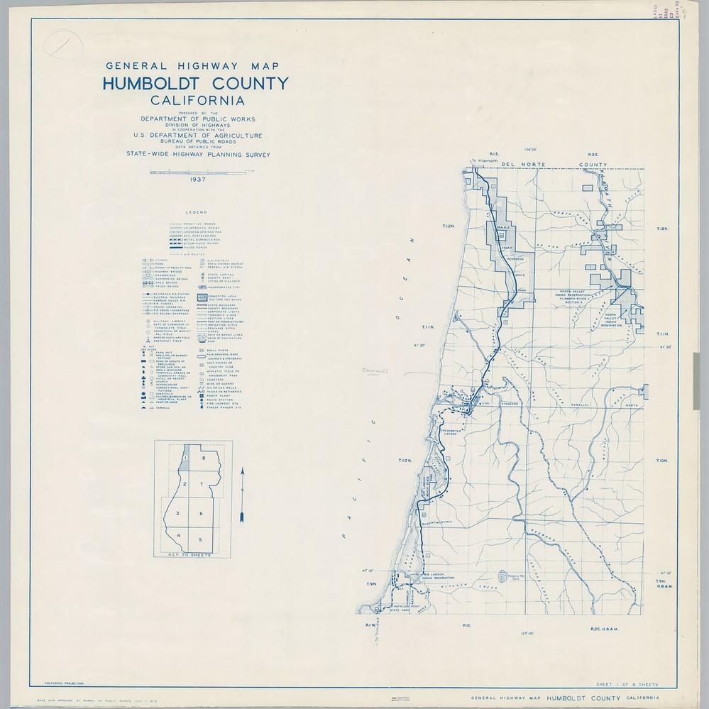 Calisphere General Highway Map Humboldt County Calif Sheet 1