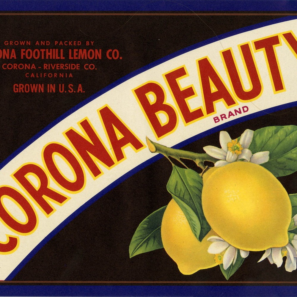 Corona Belle #1 Riverside California Orange Citrus Fruit Crate Label Print