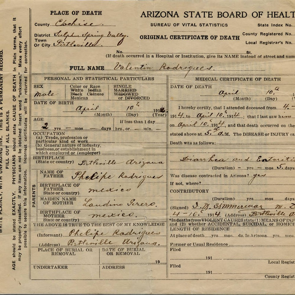 Calisphere Death Certificate Of Valentin Rodriguez