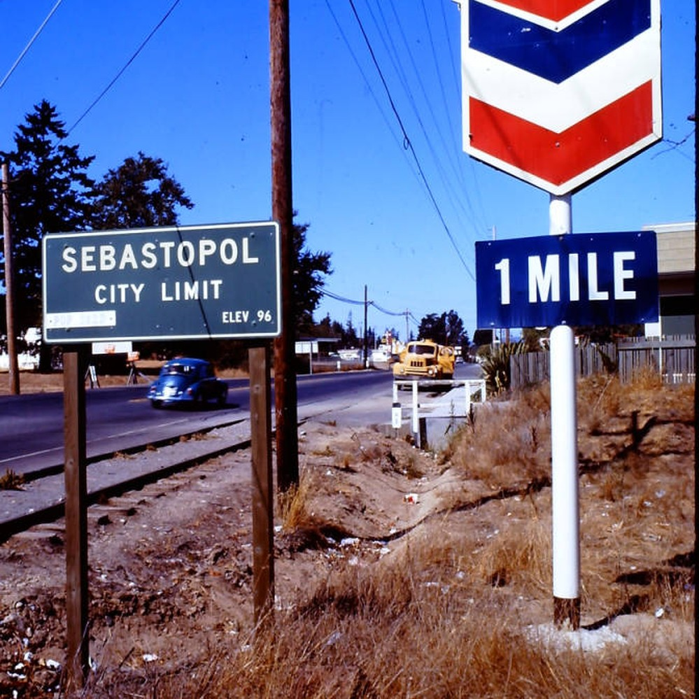 Calisphere Sebastopol City Limit Sign Elevation 96 Feet And Chevron Dealer On Gravenstein Highway South California September 1970