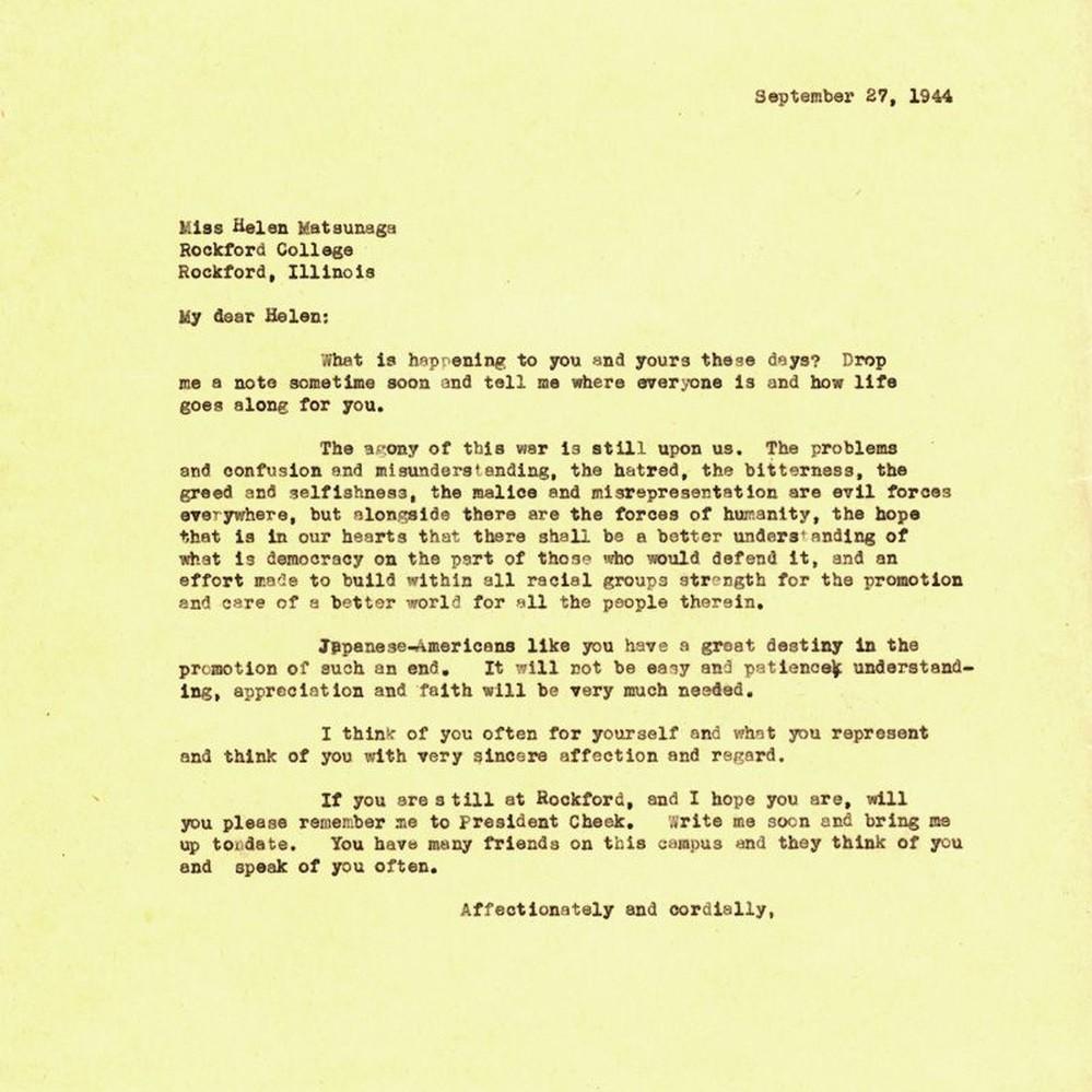 Calisphere: Letter From Remsen Bird To Helen Matsunaga, September 27, 1944